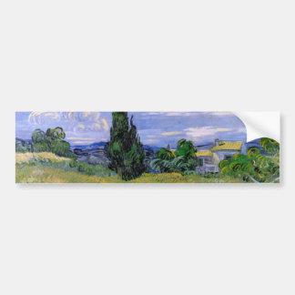 ゴッホのCypressが付いている緑の小麦畑、ファインアート バンパーステッカー