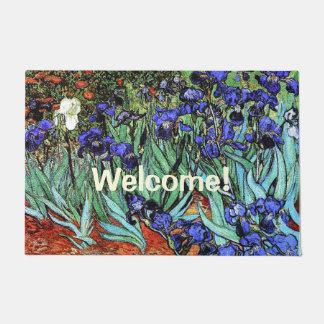 ゴッホアイリス花の花柄の歓迎の玄関マット ドアマット