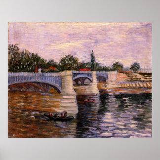 ゴッホセーヌ河Pont del Grande Jetteのファインアート ポスター