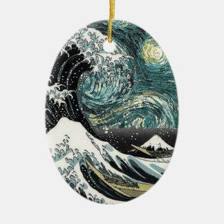 ゴッホ星明かりの夜- Hokusai素晴らしい波 セラミックオーナメント