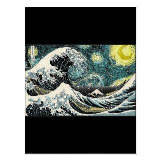 ゴッホ星明かりの夜- Hokusai素晴らしい波 ポストカード