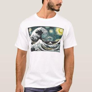 ゴッホ星明かりの夜- Hokusai素晴らしい波 Tシャツ