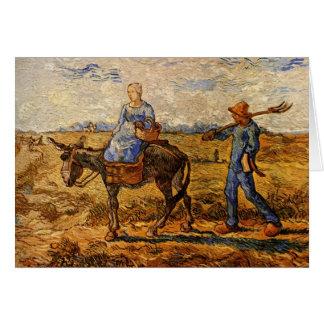 ゴッホ著働くことを行く朝の小作農のカップル カード