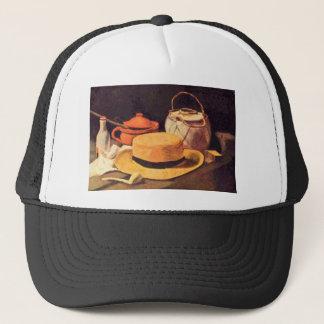 ゴッホ著管そして麦わら帽子が付いている静物画 キャップ