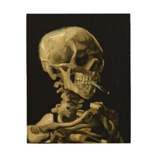 ゴッホ著非常に熱いタバコが付いているスカル ウッドウォールアート