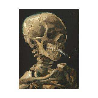 ゴッホ著非常に熱いタバコが付いている骨組スカル キャンバスプリント