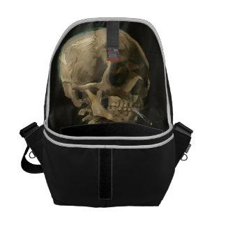 ゴッホ著非常に熱いタバコが付いている骨組スカル メッセンジャーバッグ