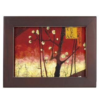 ゴッホ著Hiroshigeの後の花盛りのスモモの木 ジュエリーボックス