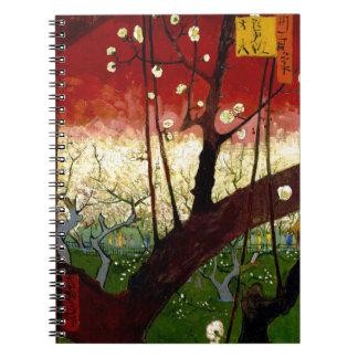 ゴッホ著Hiroshigeの後の花盛りのスモモの木 ノートブック