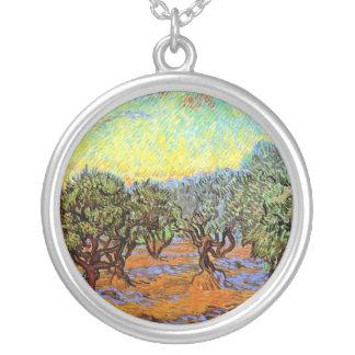 ゴッホ-オレンジ空が付いているオリーブ畑 シルバープレートネックレス