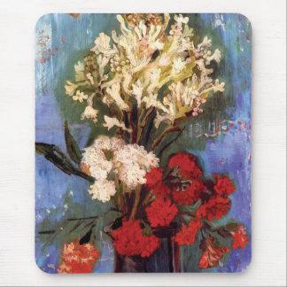 ゴッホ-カーネーションおよび他の花が付いているつぼ マウスパッド