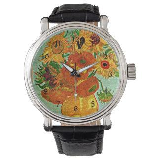 ゴッホ-ヒマワリ12の静物画のつぼ 腕時計