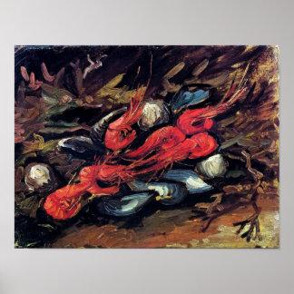 ゴッホ-ムラサキ貝およびエビが付いている静物画 ポスター