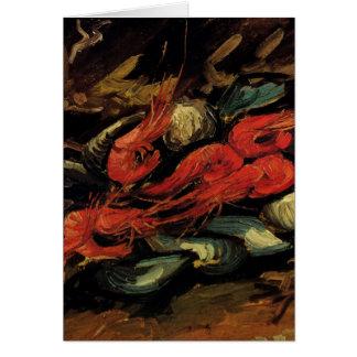 ゴッホ、ムラサキ貝およびエビのヴィンテージの静物画 カード