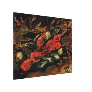 ゴッホ、ムラサキ貝およびエビのヴィンテージの静物画 キャンバスプリント