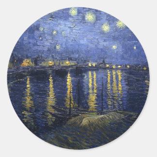 ゴッホ-ローヌ(1888年)上の星明かりの夜 ラウンドシール