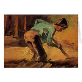 ゴッホ; 人のかがむ棒か踏鋤のヴィンテージの芸術 カード