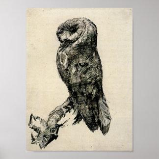 ゴッホ-側面から見られるメンフクロウ ポスター