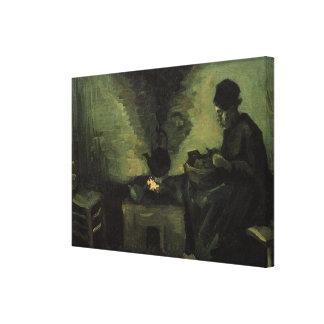 ゴッホ; 暖炉、ヴィンテージの芸術による小作農の女性 キャンバスプリント