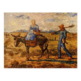 ゴッホ; 朝: 働くことを行く小作農のカップル ポストカード