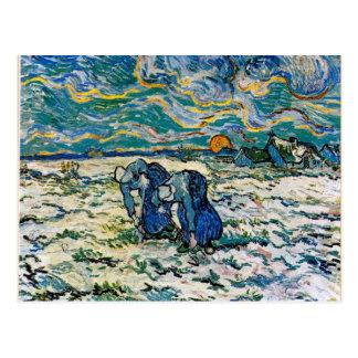 ゴッホ-雪で掘っている2人の小作農の女性 ポストカード