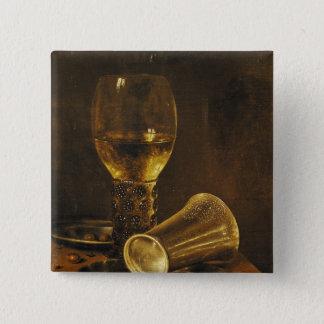 ゴブレットが付いている静物画、1653年 5.1CM 正方形バッジ