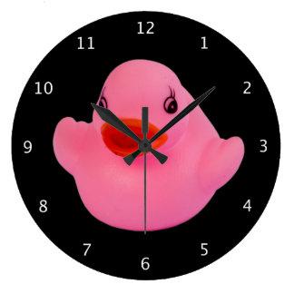 ゴム製アヒルのピンクのおもしろいのかわいいノベルティのギフト ラージ壁時計