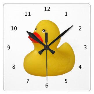 ゴム製アヒルの黄色のおもしろいのかわいいノベルティのギフト スクエア壁時計