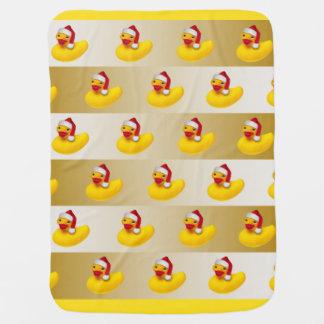 ゴム製ダッキーのサンタ|のイエロー・ゴールドの白 ベビー ブランケット