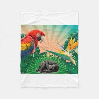 ゴリラのジャングルのオウム フリースブランケット