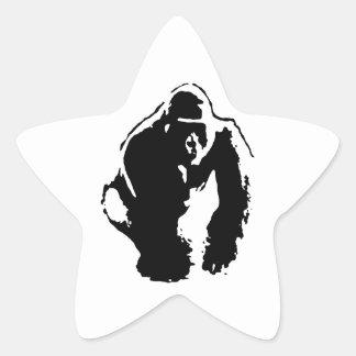 ゴリラのポップアート 星シール