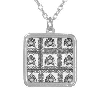 ゴリラの立方体の芸術 シルバープレートネックレス