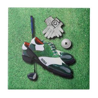 ゴルフはあなたの名前の球の手袋クラブ運転者に蹄鉄を打ちます タイル