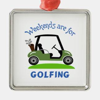ゴルフをすることのための週末 メタルオーナメント