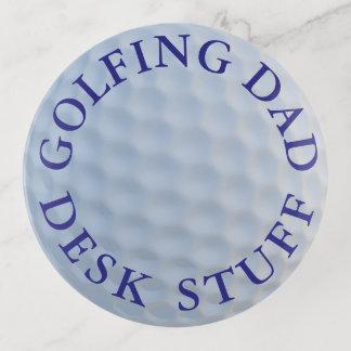 ゴルフをするパパのゴルフ・ボールのガラス円形の装身具の皿 トリンケットトレー