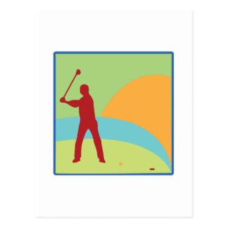 ゴルフをする緑 ポストカード