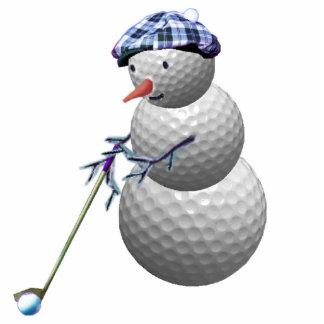 ゴルフをする雪だるまのクリスマス 写真彫刻オーナメント
