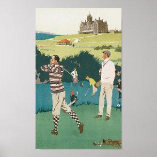 ゴルフを遊ぶヴィンテージ旅行Cruden湾 ポスター
