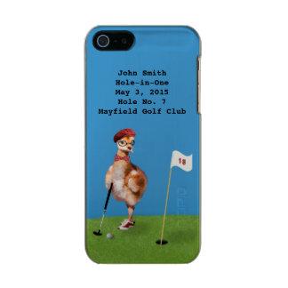 ゴルフを、穴1で遊んでいるユーモアのあるな鳥 メタリックiPhone SE/5/5sケース