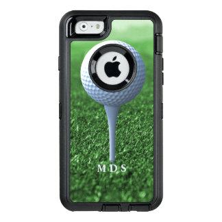 ゴルファーの緑の名前入りを離れてティーにのせること オッターボックスディフェンダーiPhoneケース
