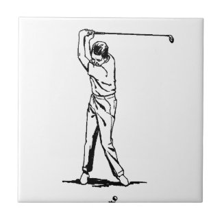 ゴルファー-レトロのスケッチ タイル