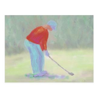 ゴルファー、郵便はがき ポストカード