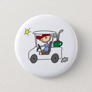 ゴルフカートのゴルファー 5.7CM 丸型バッジ