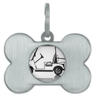 ゴルフカートの白 ペットネームタグ