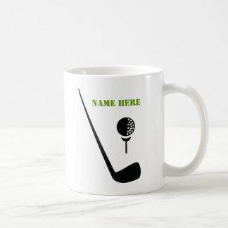 ゴルフクラブおよび球は、緑のカスタム黒くします コーヒーマグカップ