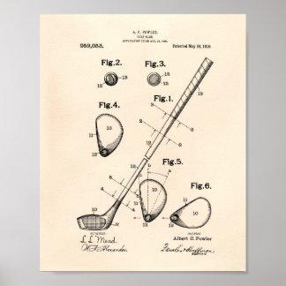 ゴルフクラブ1910パテントの芸術-古いPeper ポスター