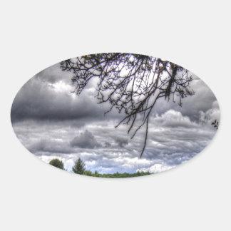 ゴルフコースの森林 楕円形シール