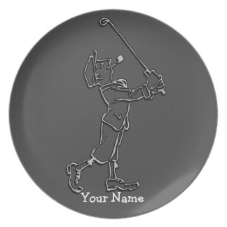 ゴルフプレーヤーの輪郭のデザインの~の編集可能背景 お皿