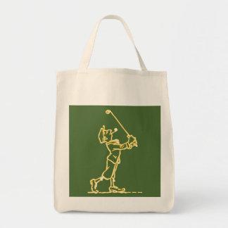 ゴルフプレーヤーの輪郭のデザインの~の編集可能背景 トートバッグ