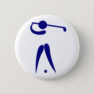 ゴルフプレーヤーの青く白いスポーツは、文字および色を加えます 5.7CM 丸型バッジ